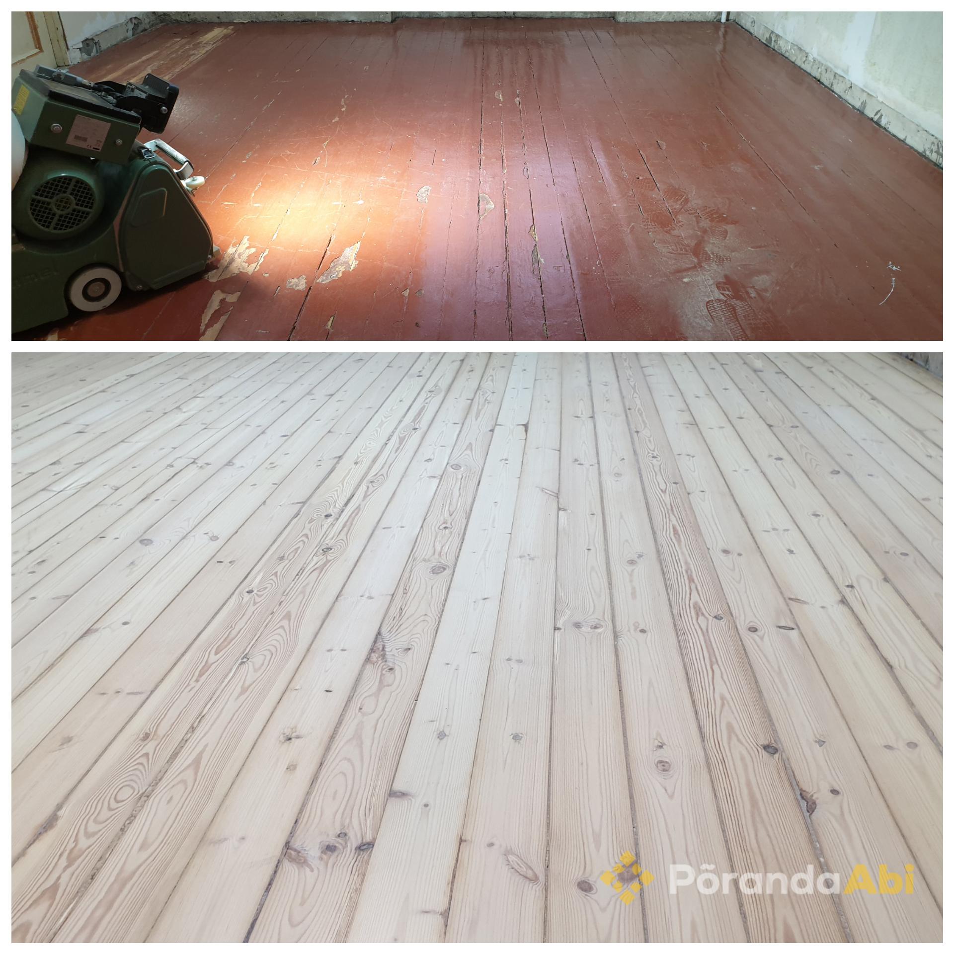 Vana puitpõranda tolmuvaba lihvimine